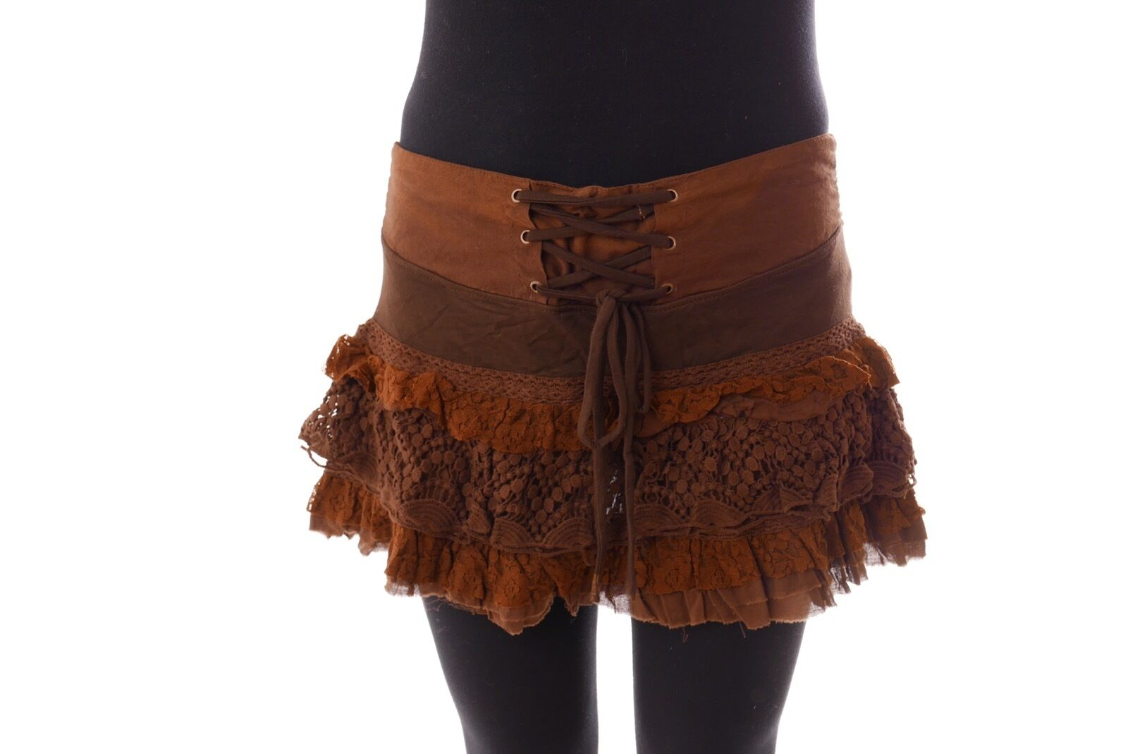 Handmade Cotton Brown SKIRT Party Style burning man psy trance festival rave S