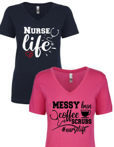 d74c0daca3f NEW! Nurse Life Wife Nurse Mother Coffee Scrubs VARIOUS DESIGNS T ...