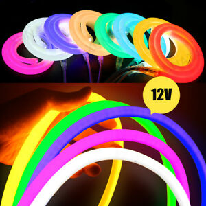 Flexible-Neon-12v-LED-Light-Glow-EL-Wire-String-Strip-Rope-Tube-Decoration-white