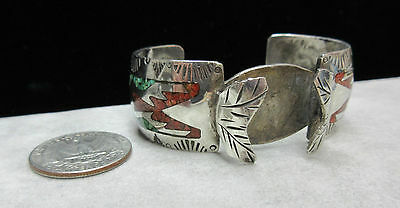 Old Native American Coral Turquoise Inlay Sterling Silver Watch Cuff Bracelet JD