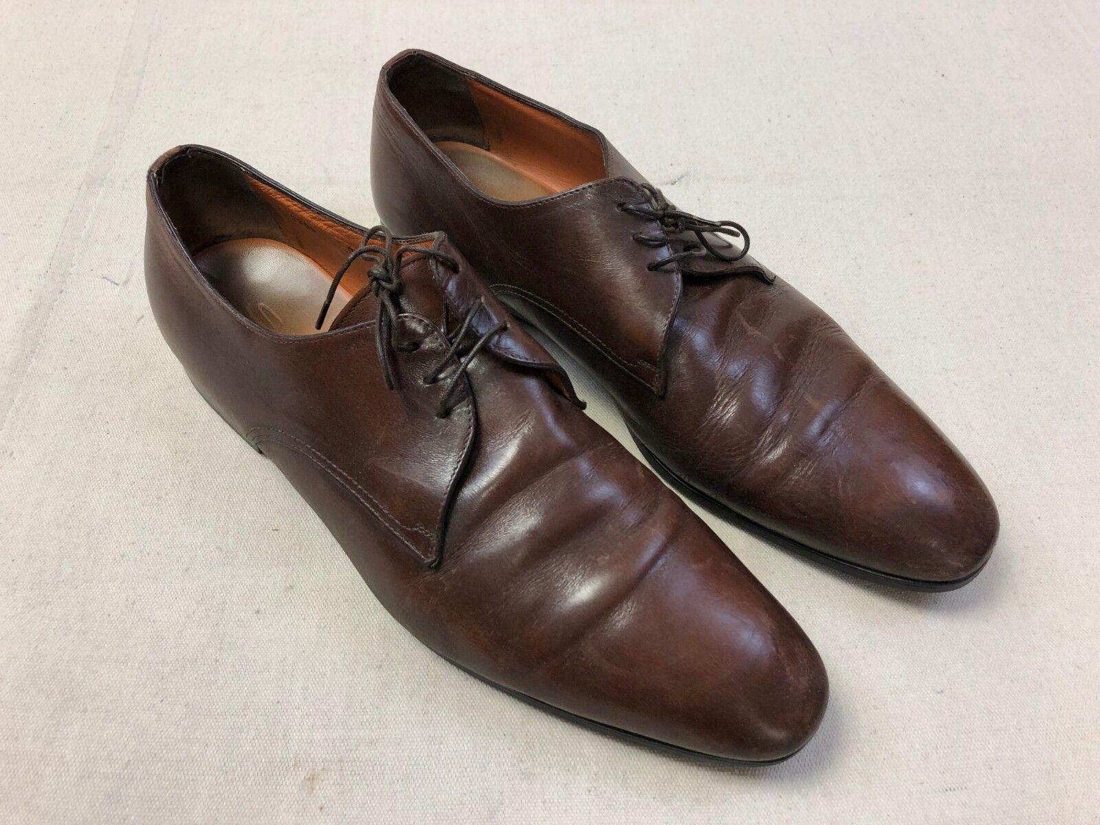 Santoni Wescott para hombre D Marrón Cuero Oxford Zapatos S15