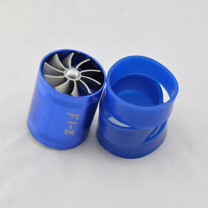 TORNADO-AIR-INTAKE-TURBO-SUPERCHARGER-DUAL-FAN-PROPELLER-GAS-FUEL-SAVER-BLUE