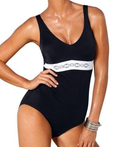 Costume da Bagno Nero-Bianco Strass ornamentali 36 38 40 42 44 46 48 50 52 54 Coppa B Nuovo