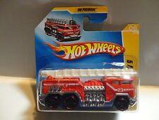 2009 Hot Wheels #6 Red 5 Alarm Fire Truck ERROR Small Rear Wheels Short Card
