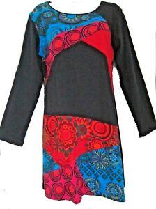 e9dec707dd SALE  GRINGO Long Sleeve Women s Cotton Jersey Colourful Dress Hippy ...