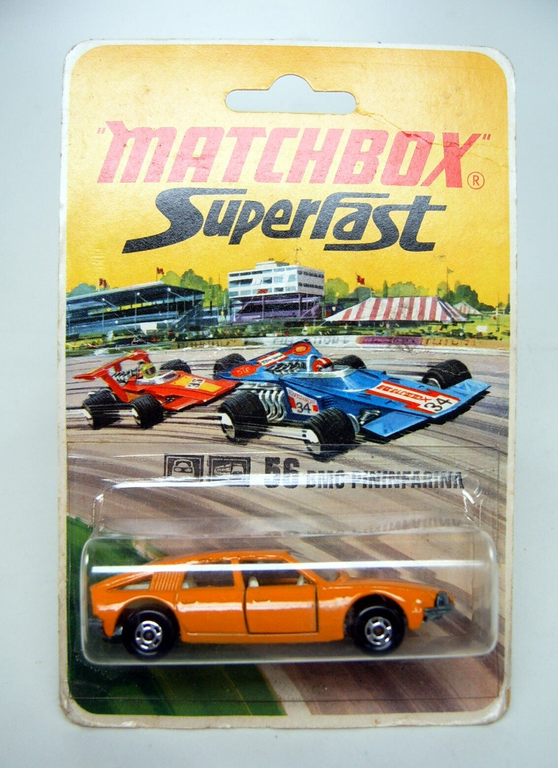 Matchbox SF nº 56a BMC Pininfarina naranja ancho ruedas a escasos termosellada