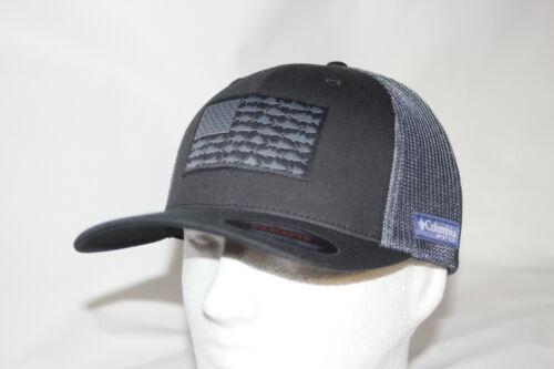 Columbia PFG Fish Flag Mesh Fitted Flexfit Ball Cap in BLACK S//M 6 5//8-7