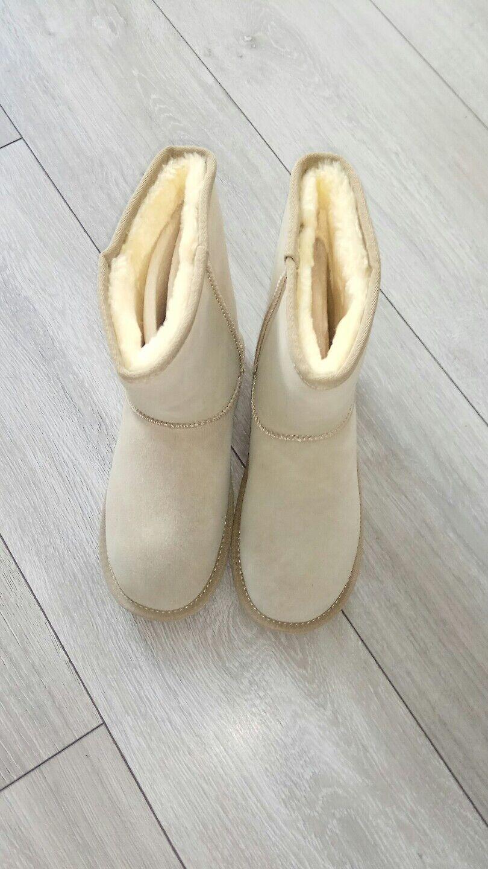 Damenstiefel Stiefel gefüttert Beige 36 Stiefel Damen Neu Boots Echtleder warm