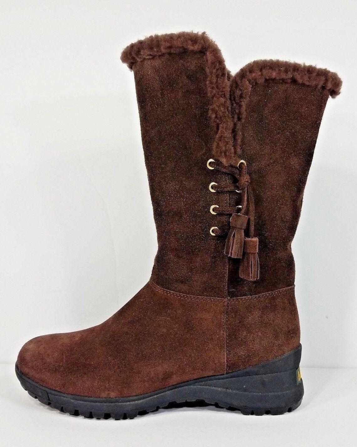 Lauren Ralph Lauren brown suede leather Tadina sheraling trim boots ladies 7 B