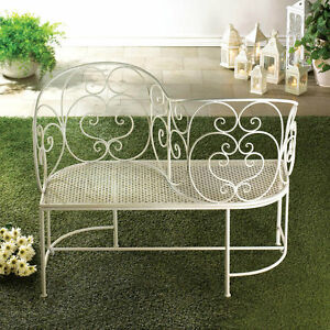 Metal Garden Bench Gossip Courting Outdoor Seat Patio Furniture Antiqued White