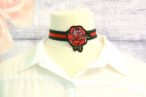 Celebrity Inspired Superfly Green Red Ribbon Boho Choker Necklace Flower Patch