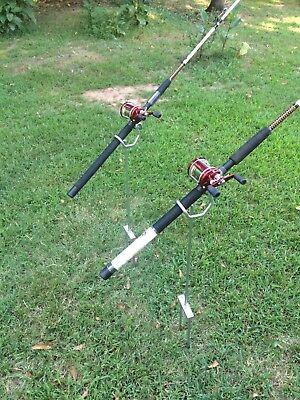 "Dual Angle $20.00 each 36 /"" tall Rod Holders  Bank Fishing 2 post Heavy Duty"