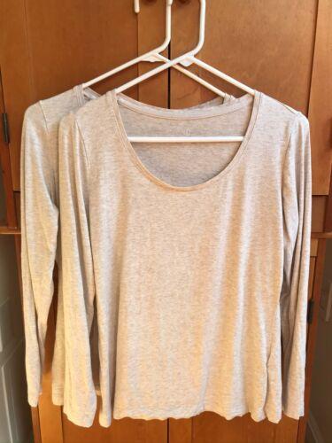 Details about  /Lands/' End Tan Cotton-Stretch-Blend Long-Sleeve Scoop Neck T-Shirt MP