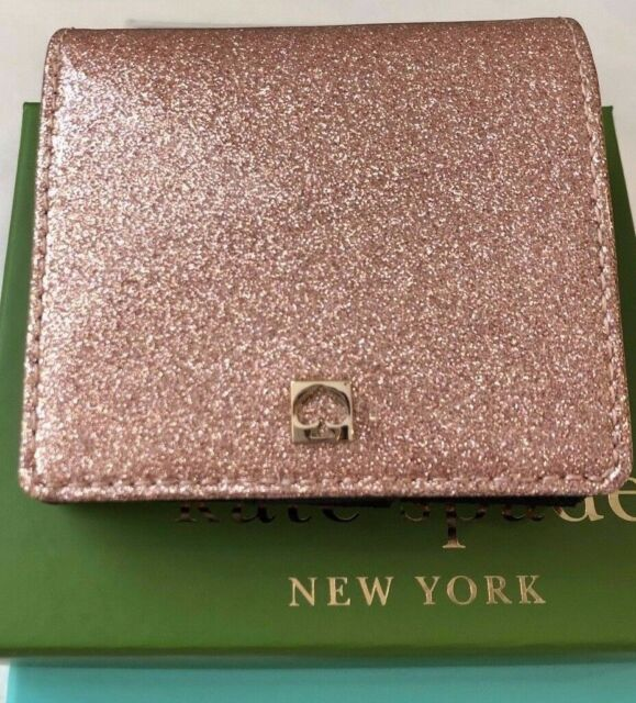 88ae582a733 NWT Kate Spade Mavis Street Serenade Bifold Wallet Rose Gold Pink Sparkle  w  Box