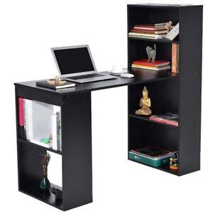 Scrivania Libreria Per Computer.Dettagli Su Scrivania Con Libreria Tavolo Porta Pc Computer In Melanina Casa Ufficio Nero