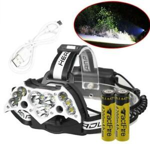 200000LM-11LED-Headlamp-USB-Rechargeable-18650-Headlight-Torch-Battery-USB-Cable