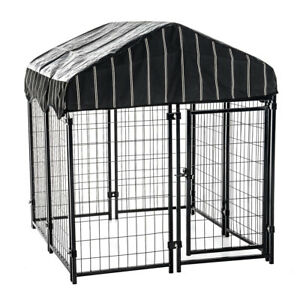 Lucky-Dog-Pet-Resort-Wire-Dog-Fence-Kennel-w-Cover-4-039-L-x-4-039-W-x-52-034-H-CL-60445