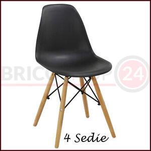 Set 4 Sedie Nere In Polipropilene Moderna Tavolo Sala Da Pranzo Design Legno Ebay