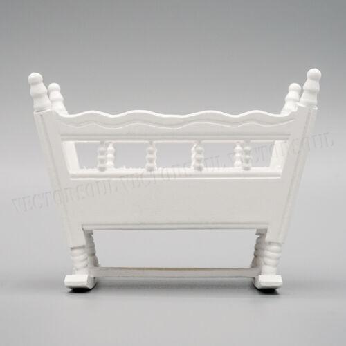 1//12 Blanco De Madera En Miniatura Cuna Cuna Muebles Casa De Muñecas Guardería Habitación
