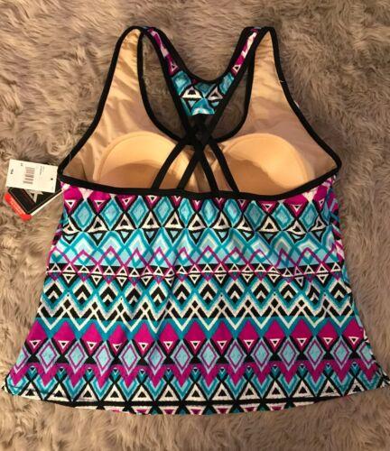 NWT ZeroXposur Swimsuit Tankini Top Blue//Purple Multicolor MSRP $54