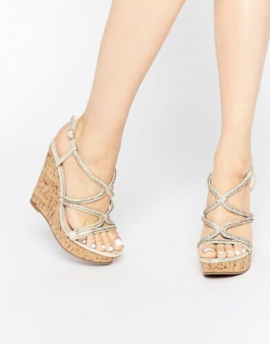 Box Embellished New Asos Size Sandals Wedge Without 7 wdAngq0an