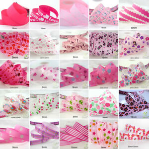 25x1Yard-Assorted-Satin-Grosgrain-Ribbon-Lot-3-8-034-1-5-034-Pink-Theme-Craft-Bow-A