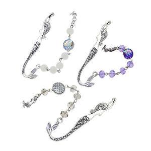 3x-Mischen-Harz-Metall-Lesezeichen-Exquisite-Meerjungfrau-Lesezeichen-mit-Perlen