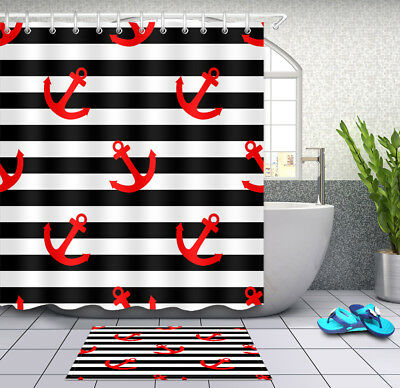 White and Black Stripes Anchor and Flowers Fabric Shower Curtain Set Bath Decor