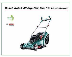 Einzigartig Bosch Rotak 40-17 ErgoFlex Electric Lawnmower 40cm Metal Blade and  WP91
