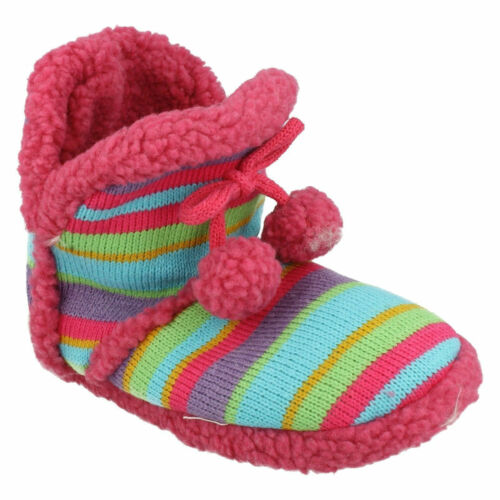X2038 SPOT ON GIRLS WARM COSY INDOOR SHOES WINTER LOUNGE HOUSE BOOTIE SLIPPERS