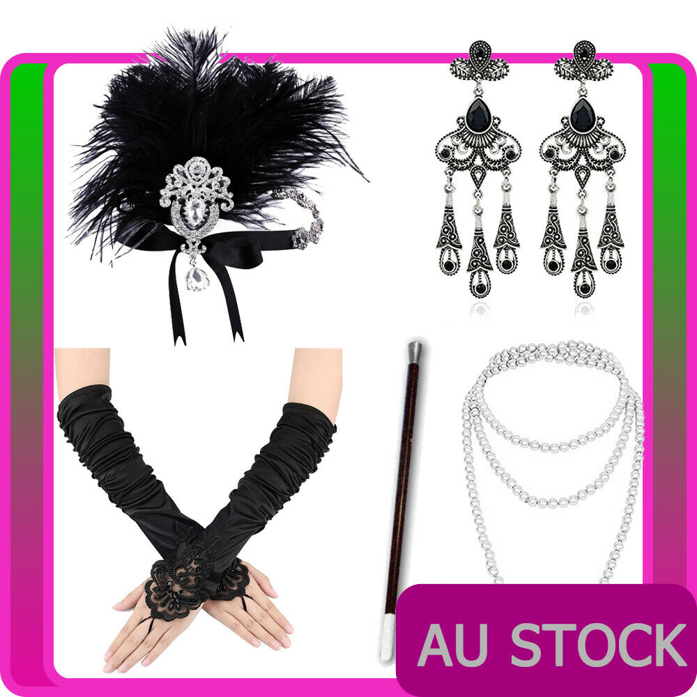 5pcs 1920s Gatsby Flapper Cigarette Gloves Necklace Headpiece Earring Accessory