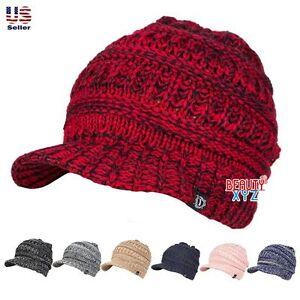 Unisex-Winter-Visor-Beanie-Knit-Hat-Cap-Crochet-Men-Women-Ski-Warm-NEW
