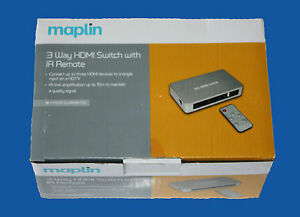 MAPLIN 3 WAY HDMI SWITCH SWITCHER WITH IR REMOTE N06GF UK STOCK