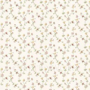 Puppenhaus-winzige-roter-und-gelber-Angehaengte-Rasen-Blumen-Tapete
