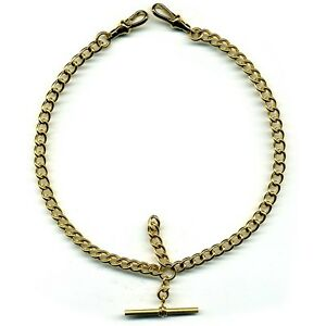 Gold-Coloured-Stainless-Steel-Pocket-Watch-Double-Albert-Chain-Close-Curb-FA43A