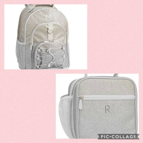 NWT POTTERY BARN TEEN GEAR-UP BACKPACK CLASSIC LUNCH BAG Silver//Gold Shimmer