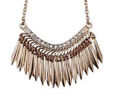Vintage retro style gold tone leaf / spike chandelier tassel necklace w/ crystal