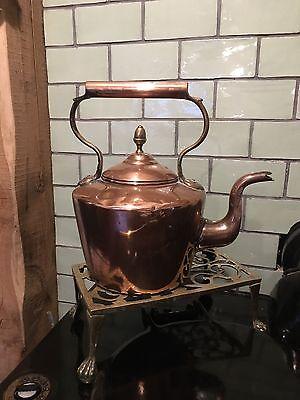 Antique Victorian Copper Brass Kettle DoveTail Goose Neck