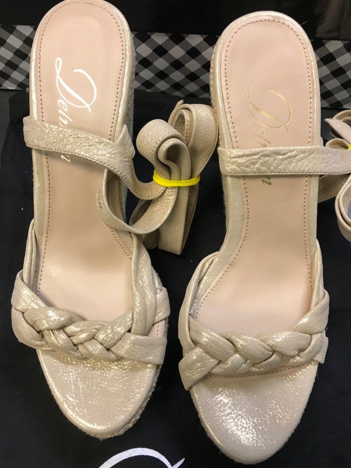 Delman Gema Wedge Beige Glisten schuhe Strappy Wrap ankle ankle ankle tie Metallic Espadrille 5990f0