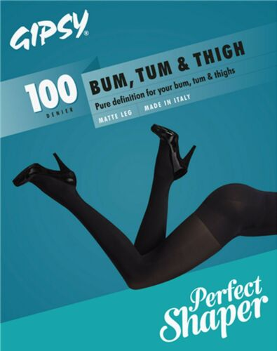 TUM /& THIGH TIGHTS IN BLACK WITH 3 SIZES CODE 1404 GIPSY 100 DENIER BUM