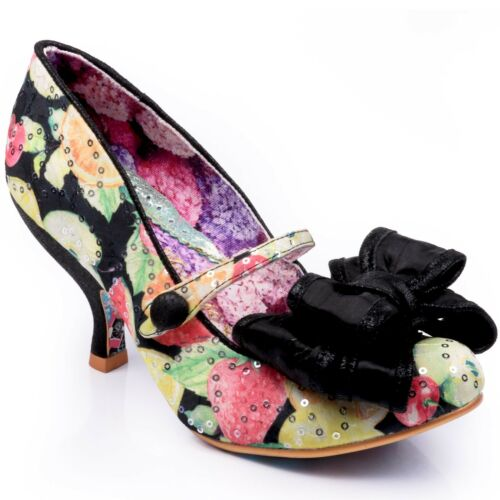 D HEELS NEW IRREGULAR CHOICE *LOVE IS IN THE AIR* BLACK FLORAL