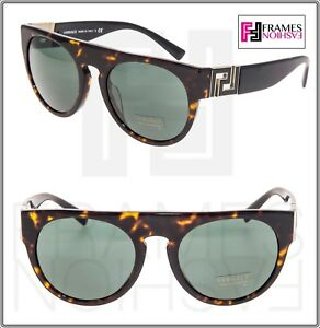 6b186d67e Image is loading VERSACE-Oversized-Round-Sunglasses -VE4333A-Black-Tortoise-Green-
