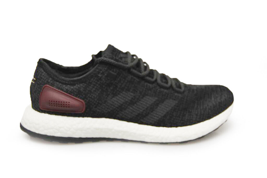 Herren adidas Pure Boost - BA8889 - Schwarz Weiß Grau Rot Turnschuhe