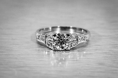 Antique 1930s 1.10ct Old Euro Diamond Platinum Wedding Ring