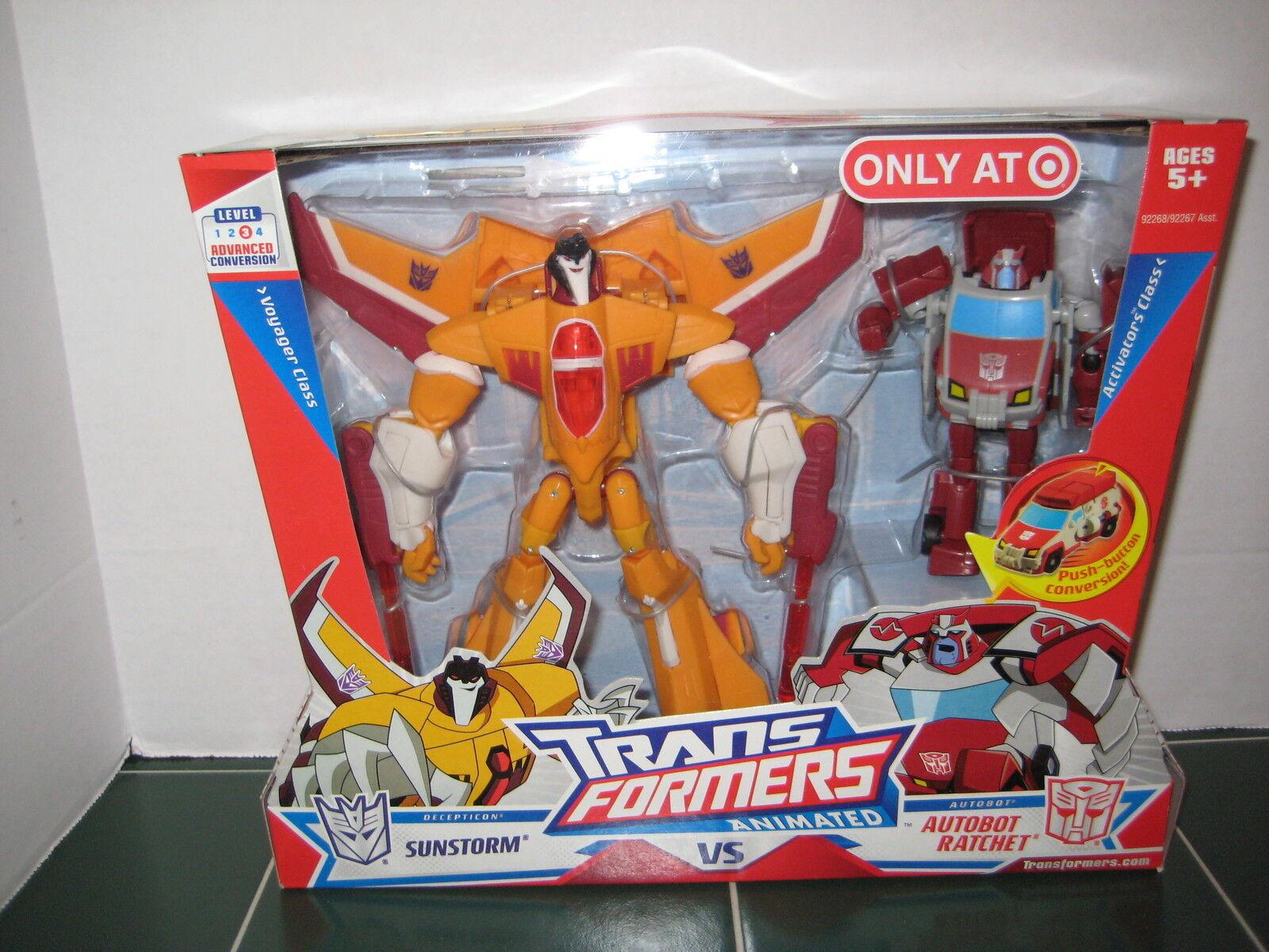 Transformers Animated Exclusive Sunstorm vs Autobot Ratchet Level 3