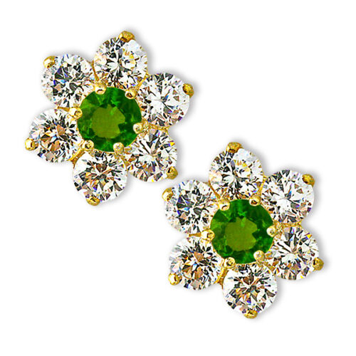 Baby//Children/'s Stylish 14K Gold Round Flower Peridot Screwback Earrings