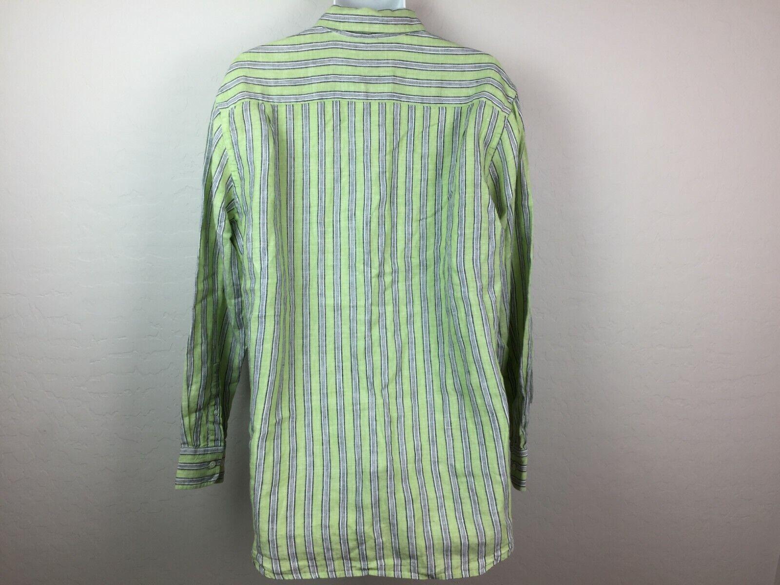 Express Men's Green Striped Button Up Shirt White… - image 4