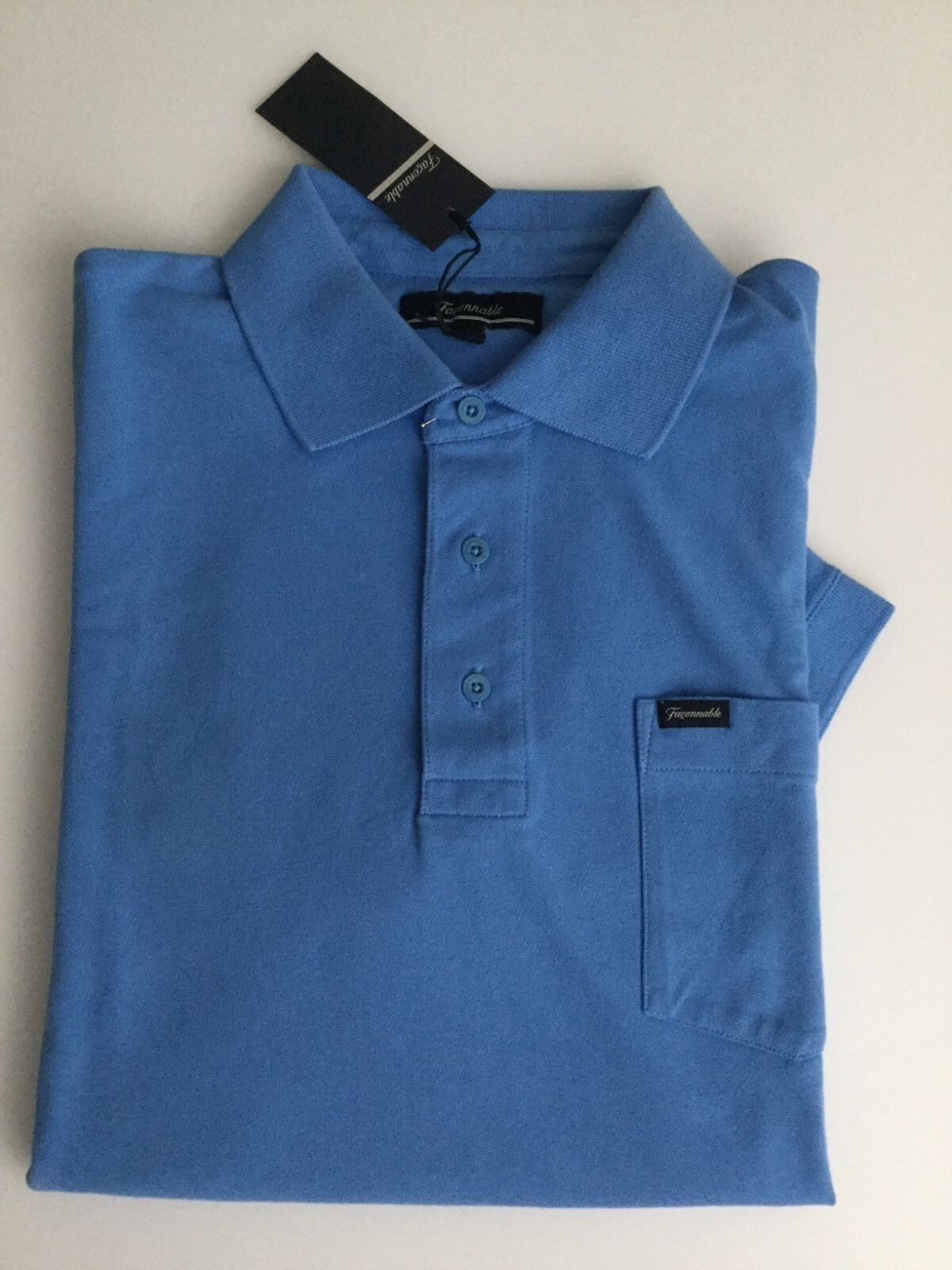 8254fcc9 BNWT FACONNABLE MEN'S blueE COTTON SHORT SLEEVE CLASSIC POLO SHIRT SIZE L