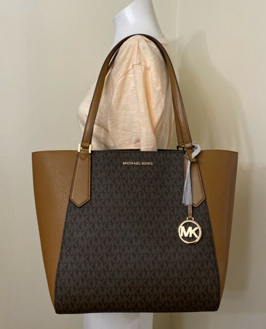 Michael Kors Kimberly Large Bonded PVC Leather Tote Bag MK Brown Acorn