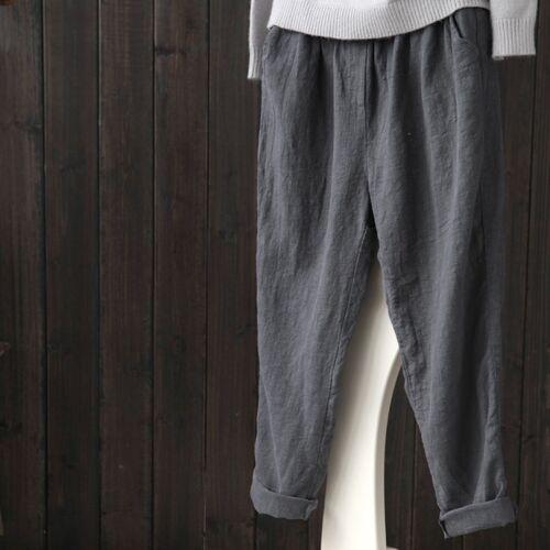 Womens Cotton Linen Harem Trousers Pants Baggy Loose Elastic Waistband M-5XL New